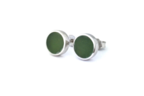 New Zealand Pounamu & STG Silver Flat Stud Earrings (Small)