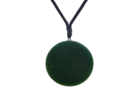New Zealand Kawakawa Pounamu Disc Pendant